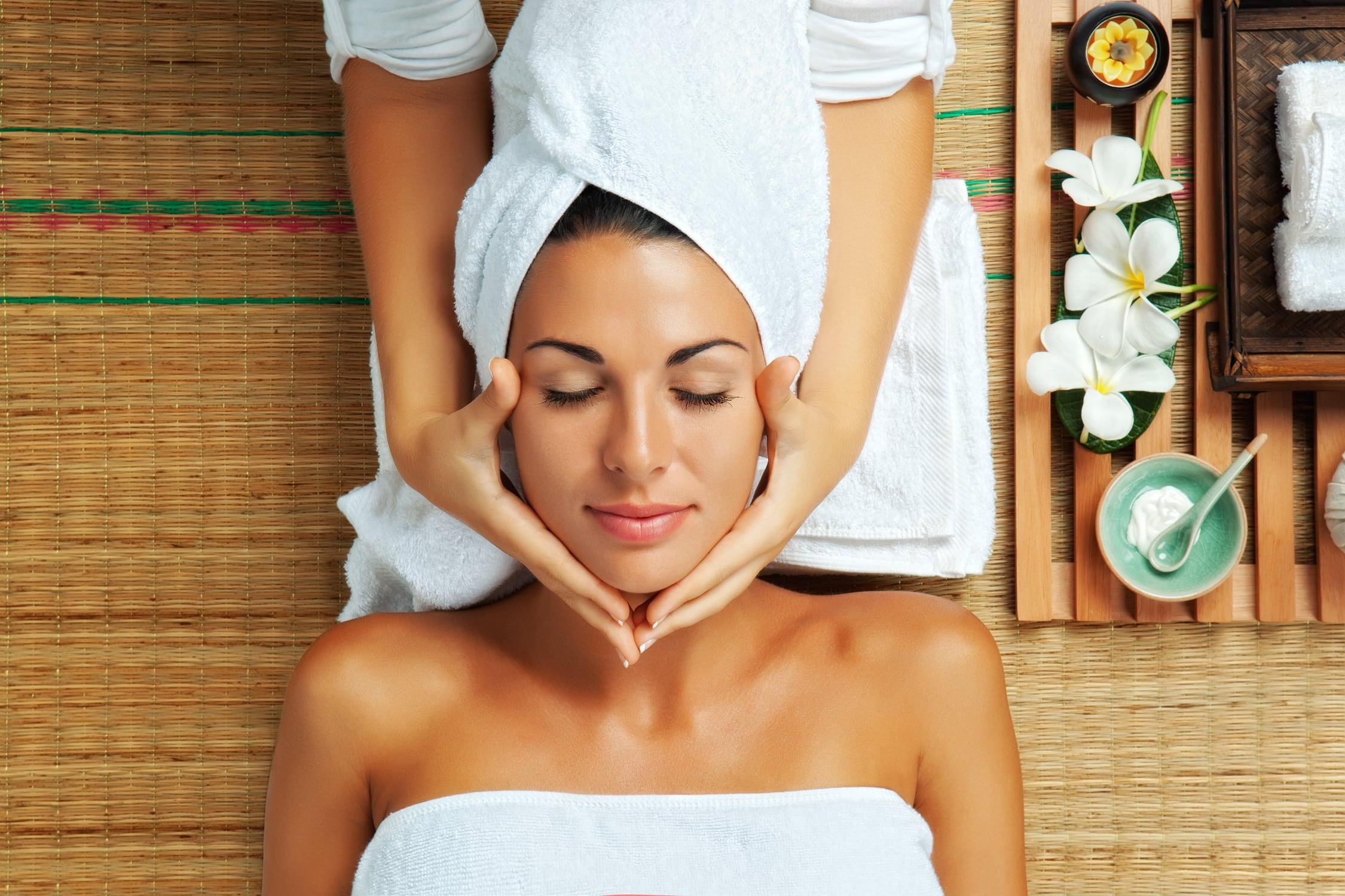 Women getting face massage